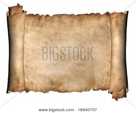 Manuskript horizontale verbrannten rau Rolle Pergament-Papierhintergrund Textur