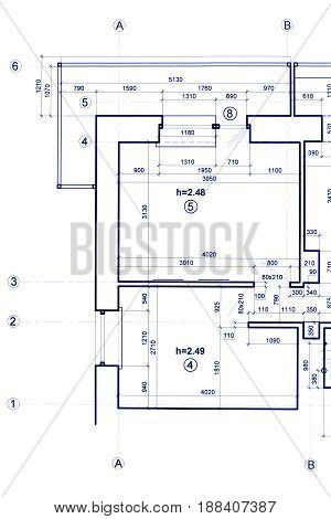 Technical Project, Architectural Background. Part Of Construction Blueprint.