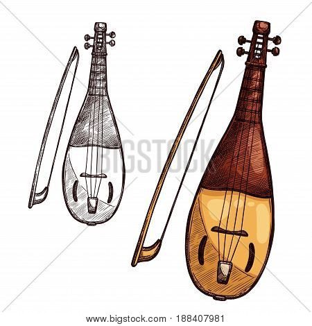 String music instrument with bow. Vector sketch symbol of musical bowing or plucking type of sitar, ukulele or lute and wooden mandolin for orchestra concert or ethnic music festival design