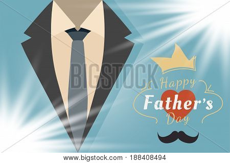 Happy Father's Day. Festive greeting banner. Jacket with a tie and a font combination with the heart. Flat vector illustration EPS10.