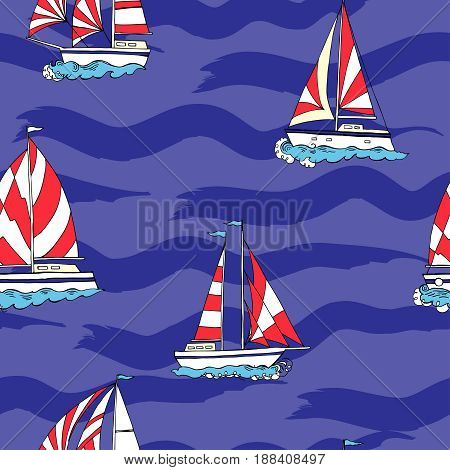 Nautical seamless pattern with ships and waves. Hand drawn elements for summer holidays. Travel, sea and ocean. Vector Illustration