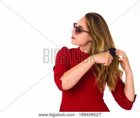 Young pretty woman, hairbrush, white background, cute girl