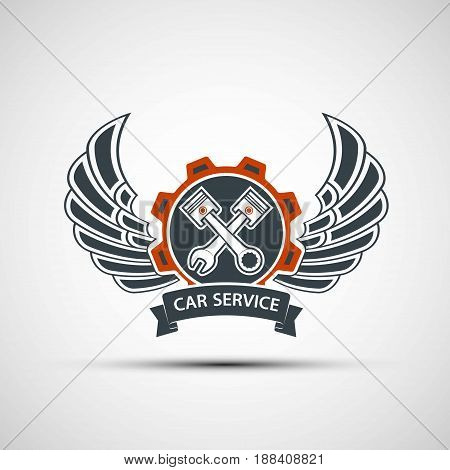 Logo engine with plungers wings and a tool wrench. Car service. Stock vector illustration.