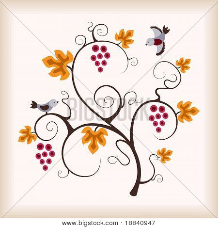 Grape vine tree and birds. Vector illustration. poster