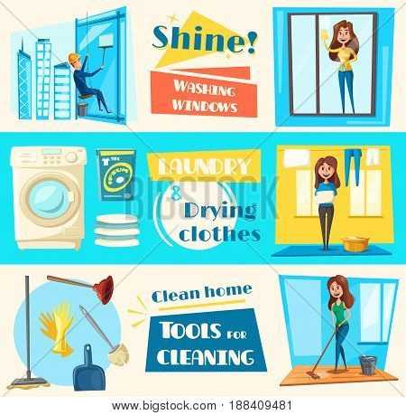 Home work or cleaning service vector banners. Man and woman cleaning windows on skyscraper building, laundry washing machine and clean linen with detergent, household tools duster, rag and gloves