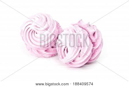 a pink marshmellow isolated on white background