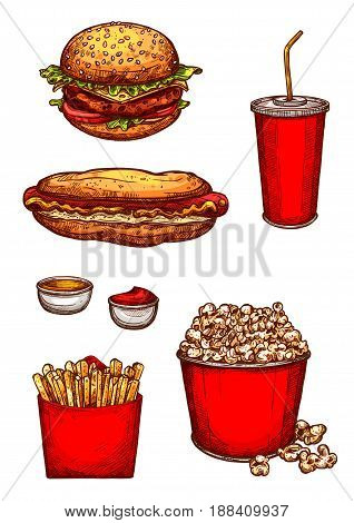 Fast food snacks and meals sketch. Vector isolated icons of cheeseburger or hamburger, hotdog sandwich, soda drink in cup, popcorn basket and french fries potato, mustard and ketchup sauces