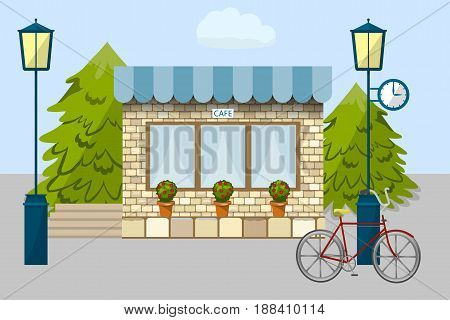 Bicycle near the cafe, lanterns and spruce, watches and flower pots, sky and cloud, vector illustration