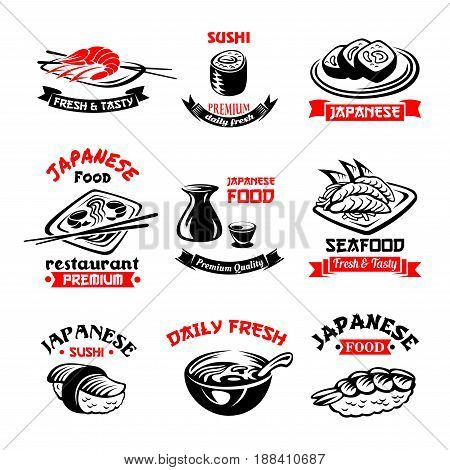 Sushi icons set for Japanese seafood or sushi bar. Vector isolated symbols sashimi rolls and salmon fish, noodles or miso soup, bento and tempura shrimp with steamed rice and soy sauce for menu design