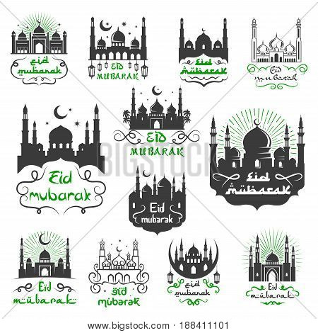 Eid Mubarak Muslim religious festival greetings set with Arabic calligraphy, mosque minarets and crescent moon or twinkling star. Vector icons for traditional Islamic Blessed Eid Mubarak celebration