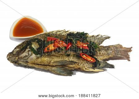 Fried fish (Tilapia) isolate on white,thai food