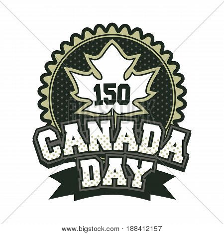 Vector illustration 150 years old with canada badge badge on white background black and white