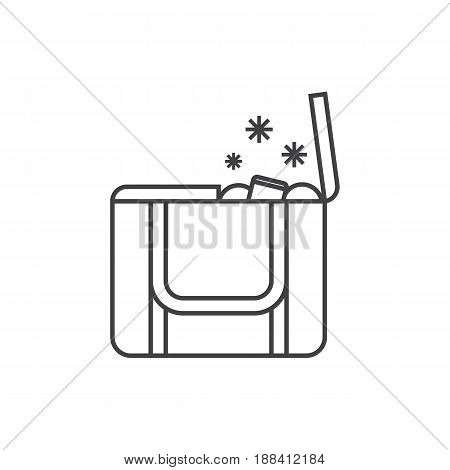 Portative beach freezer bag outline design icon. Picnic cooling lunch box vector illustration isolated on white background. Small freezer-bag in in thin line style.