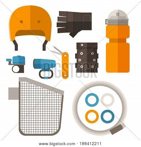 Bike accessories set in flat design. Cycling equipment vector icons. Including bycycle helmet, protective gloves, water bottle, basket, cable lock, light, bell ring and multitool.