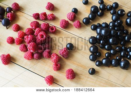 Red raspberries and black currant on wooden table as ingredient to healthy cocktail beverage yogurt smoothie