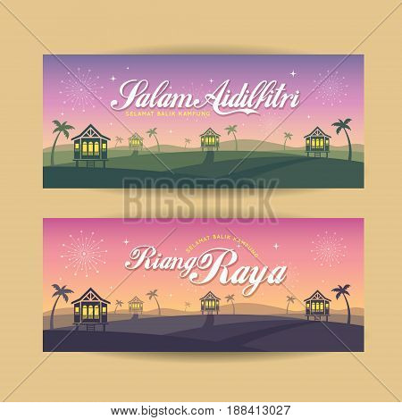 et of Hari Raya Aidilfitri banner design. Vector traditional malay wooden houses with nightfall landscape background and fireworks. (translation: Happy Fasting Day ; return hometown safely)