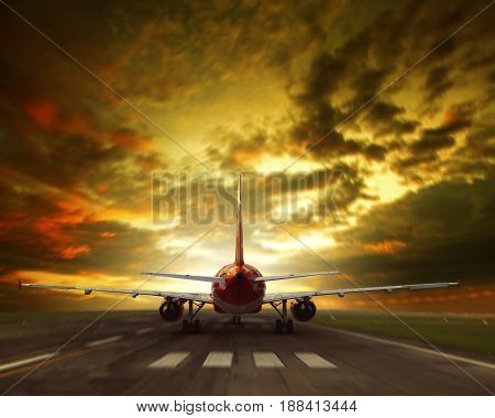 air plane taking off from airport runway