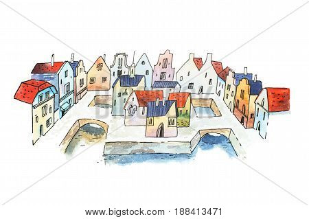 Aquarelle sketch of canal city street in France, Europe.