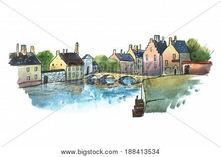 Watercolor postcard of stone bridge in a small old German town. Aquarelle illustration of European city in summer.
