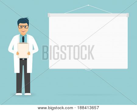 Doctor with medical clipboard in hands projection screen on background. Doctor on presentation. Handsome young doctor in glasses. Vector