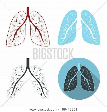 Lungs set. Human lungs anatomy symbol set. Vector