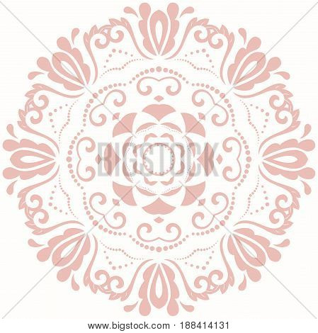 Oriental vector round pink pattern with arabesques and floral elements. Traditional classic ornament. Vintage pattern with arabesques