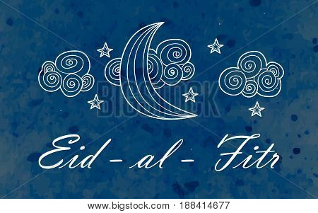 Illustration Eid al Fitr. Greeting card with ornament on watercolor background, ornate crescent moon and star on arabic background. Eid-Al-Fitr muslim pattern. Islamic ornamental poster.