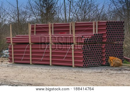 New Temporary storage of various plastic pipes