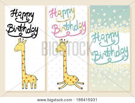 Cute giraffe in vector. Greeting card for birthday.