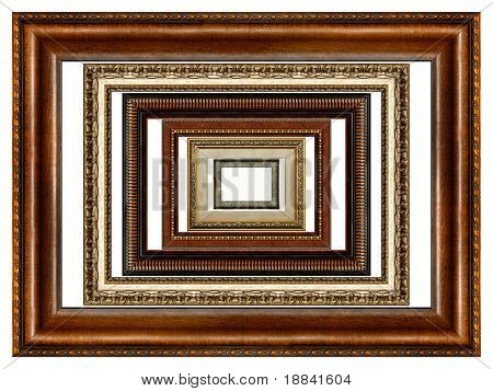 Set of six antique wooden picture frames with pattern isolated on white background