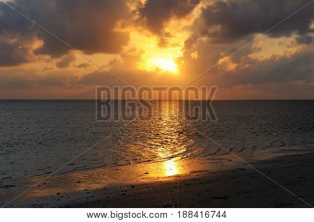Beautiful summer tropical sunset in Indian ocean