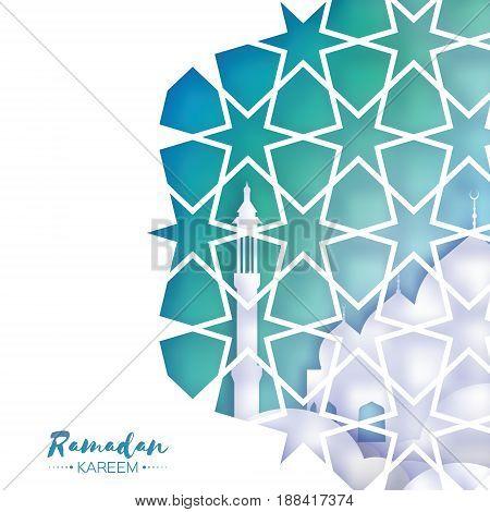 Ramadan Kareem Greeting card . Beautiful Mosque. Origami Arabesque Window. Arabic Ornamental pattern in paper cut style. Holy month of muslim. Crescent Moon. Symbol of Islam. Vector illustration.