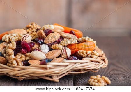 Mix Of Nuts And Dry Fruits In A Wooden Plate. Assortment Of Walnuts, Almonds, Roasted Cashews, Pista