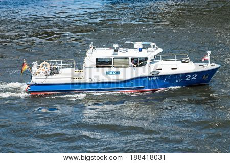 Berlin Germany - may 27 2017: German police boat on river Spree in Berlin Germany