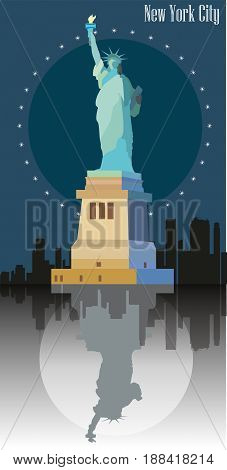 Statue of freedom ( Liberty) on blue background of New York. Colorful vector image