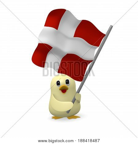 Funny bird with the flag of Denmark 3d rendering