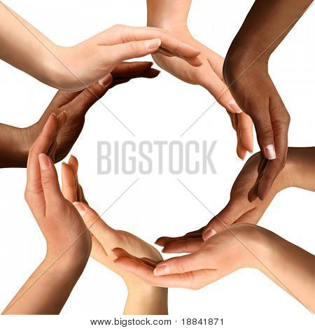 Conceptual symbol of multiracial human hands making a circle on white background with a copy space in the middle poster