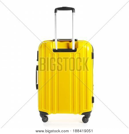 Yellow Trolley Travel Bag Isolated On White Background. Vip Trolley Bag. Trolley Luggage Bag. Spinne