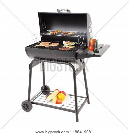 Barbecue Smoker With Food Isolated On White Background. Barbecue Grill. Bbq Grillware Grill. Outdoor