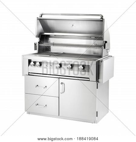 Bbq Grill Isolated On A White Background. Front View Of Stainless Steel Barbecue Gas Grill. Outdoor