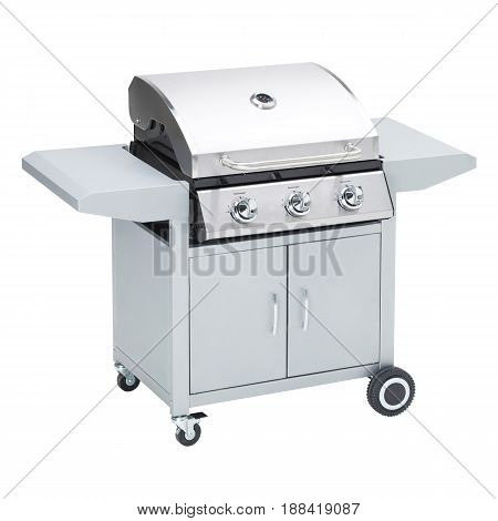 Bbq Grill Isolated On A White Background. Stainless Steel Barbecue Gas Grill. Outdoor Cooking Statio