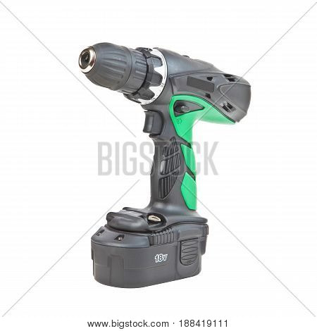 Electric Screwdriver Isolated On White Background. Cordless Drill. Battery Drill. Drywall Screw Gun.