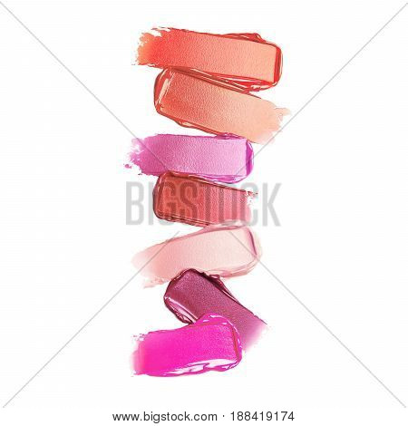 Liquid Lipstick Smear Isolated On White Background. Foundation Lipstick Smudge. Lipstick Paint. Make