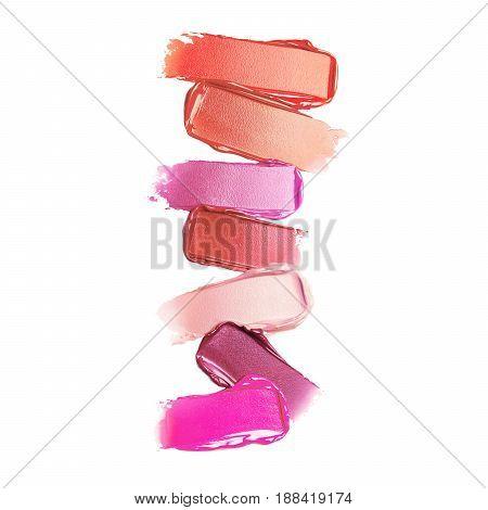 Liquid Lipstick Smear Isolated On White Background. Foundation Lipstick Smudge. Lipstick Paint. Make