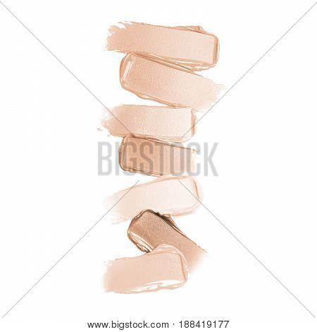 Liquid Lipstick Smear Isolated On White Background. Lipstick Paint. Foundation Lipstick Smudge. Make