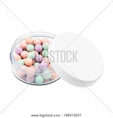 Makeup Pearls In Round Case Isolated On White Background. Multicolour Matt Pearls. Enhancing Mineral