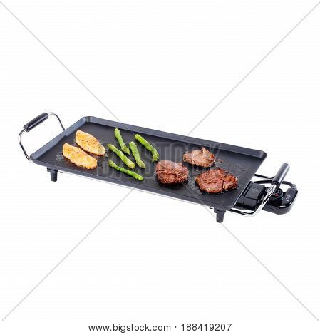 Non-Stick Grill Plate with Food Isolated on White Background. Grill Chef Plate with Insulated Handles. Barbecue Grill. BBQ Grillware. Cooking Station. Clipping Path