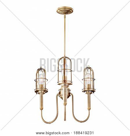 Pendant Sconce Isolated on White Background. Three-Light Chandelier Lighting. Bronze Light Fixture with LED Bulbs. Ceiling Light Lamp with Chain. Front View