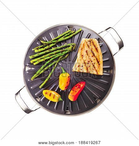 Stove Top Grill with Food Isolated on White Background. Non-Stick Grill Plate. Grill Chef Plate with Insulated Handles. Barbecue Grill. BBQ Grillware. Cooking Station. Top View
