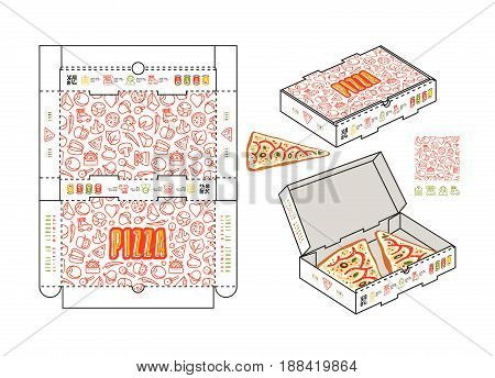 Stock Vector Design Of Rectangular Box For Pizza Slices